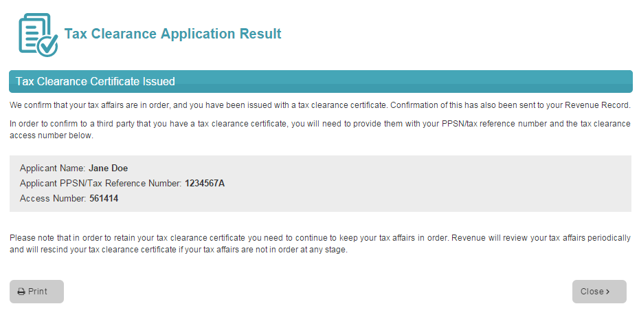 Image of a tax clearance application result screen where a certificate is issued